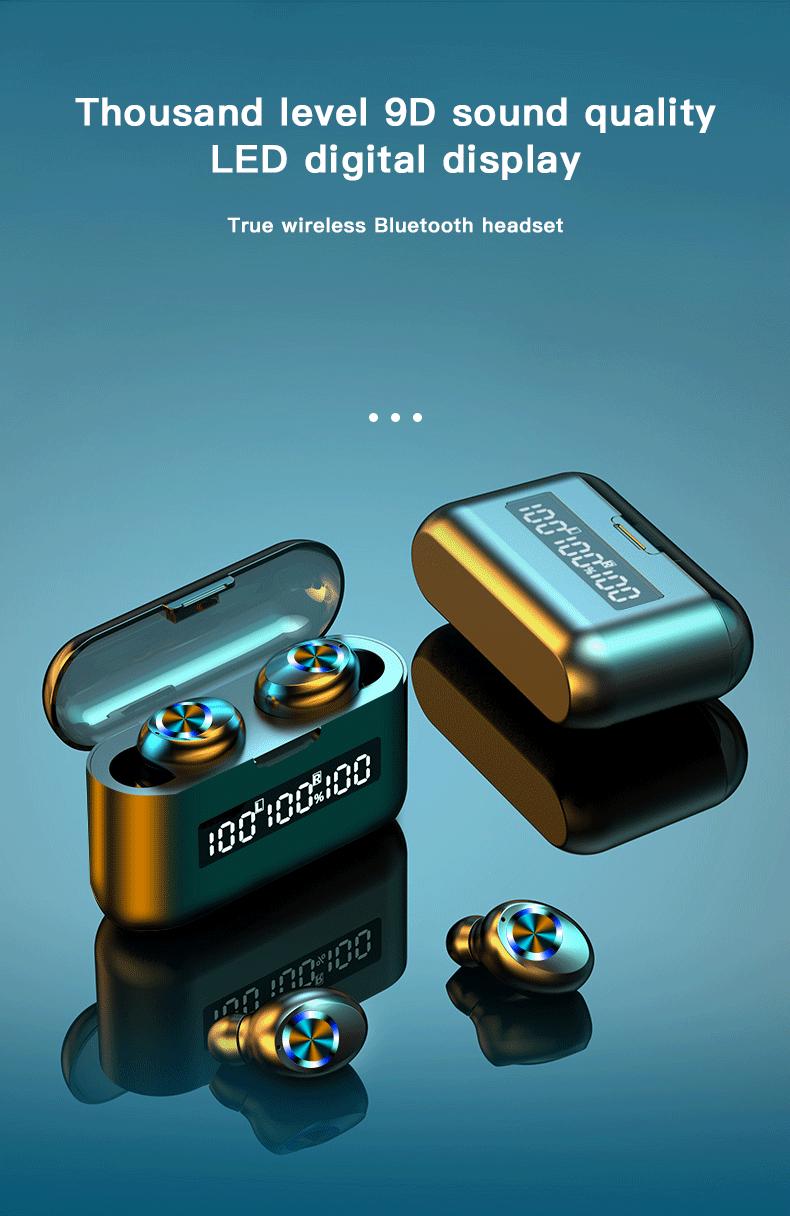 Wireless TWS Bluetooth 5.0 Earbuds Headphone Waterproof 9D Sports Earphones LED Power Display Button Control Headset 2000mAh 0