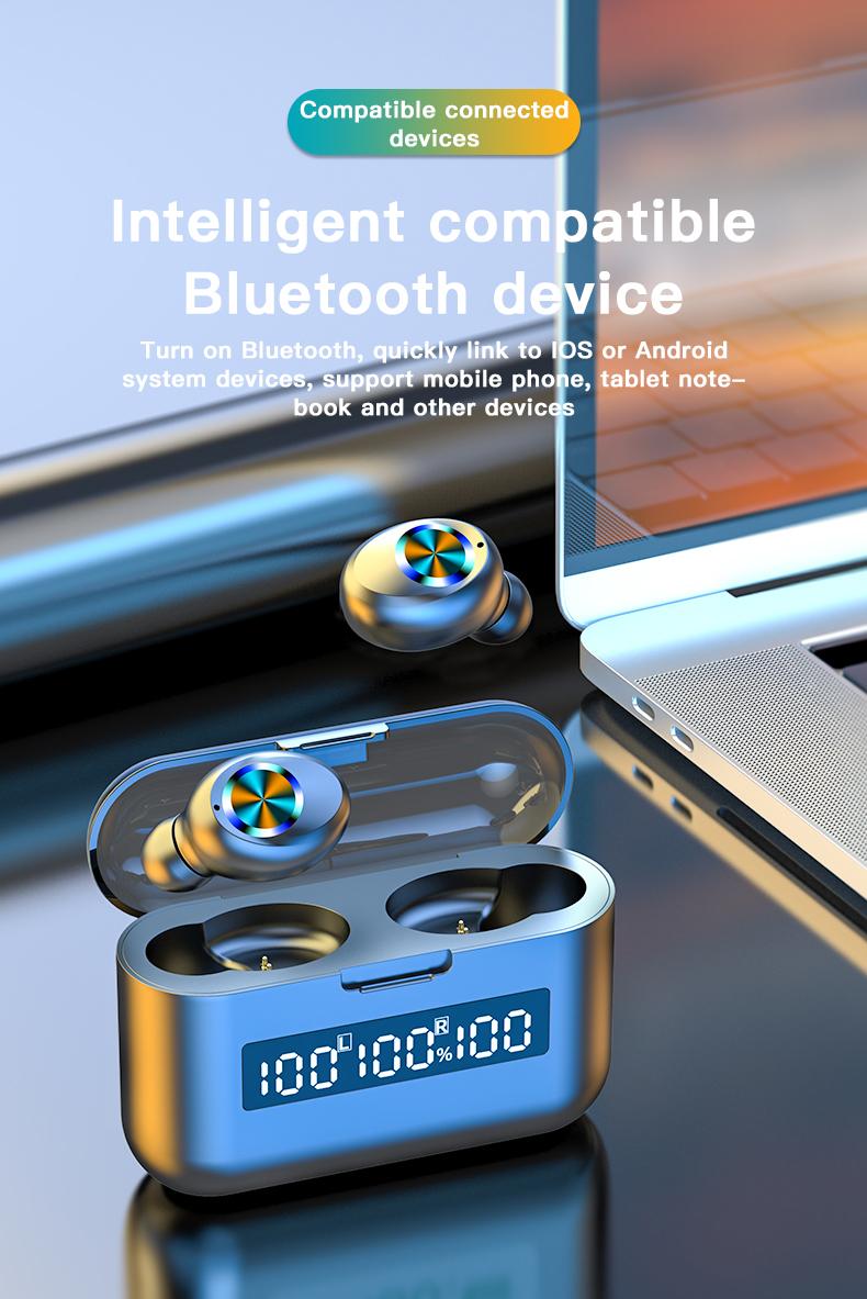 Wireless TWS Bluetooth 5.0 Earbuds Headphone Waterproof 9D Sports Earphones LED Power Display Button Control Headset 2000mAh 8