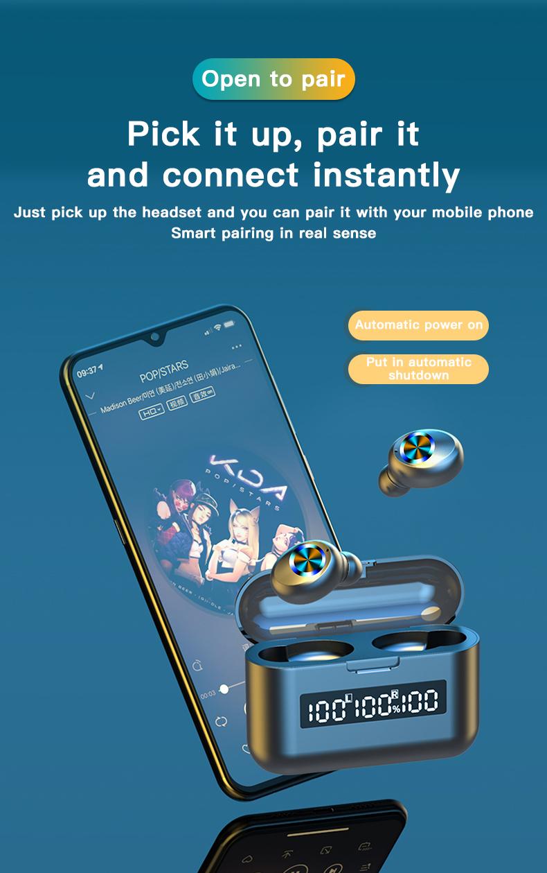 Wireless TWS Bluetooth 5.0 Earbuds Headphone Waterproof 9D Sports Earphones LED Power Display Button Control Headset 2000mAh 5