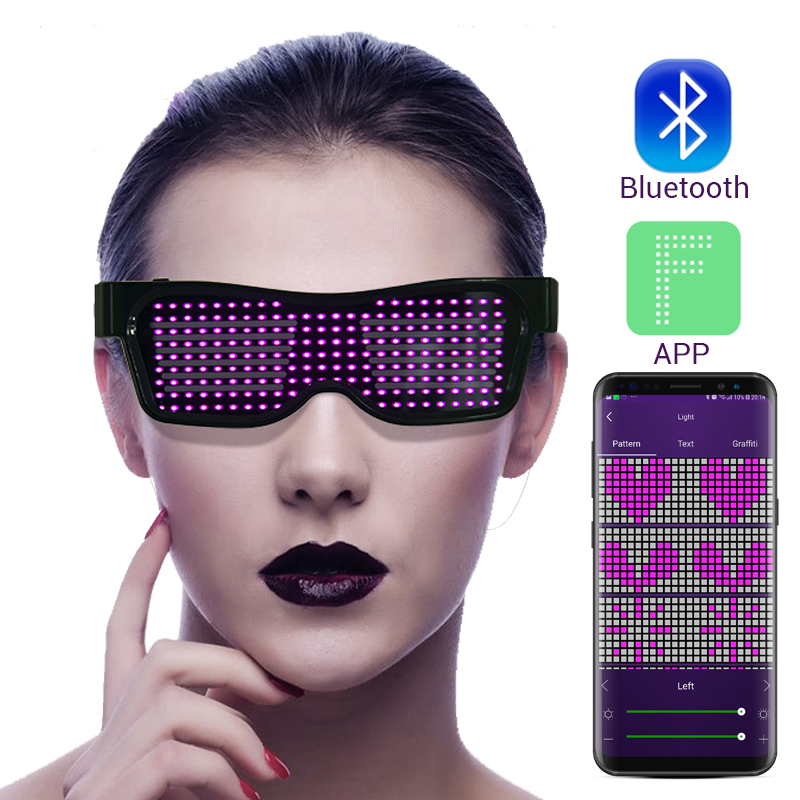 Magic Bluetooth Led Party Glasses APP Control Luminous Glasses EMD DJ Electric Syllables Party Eye Glasses 3