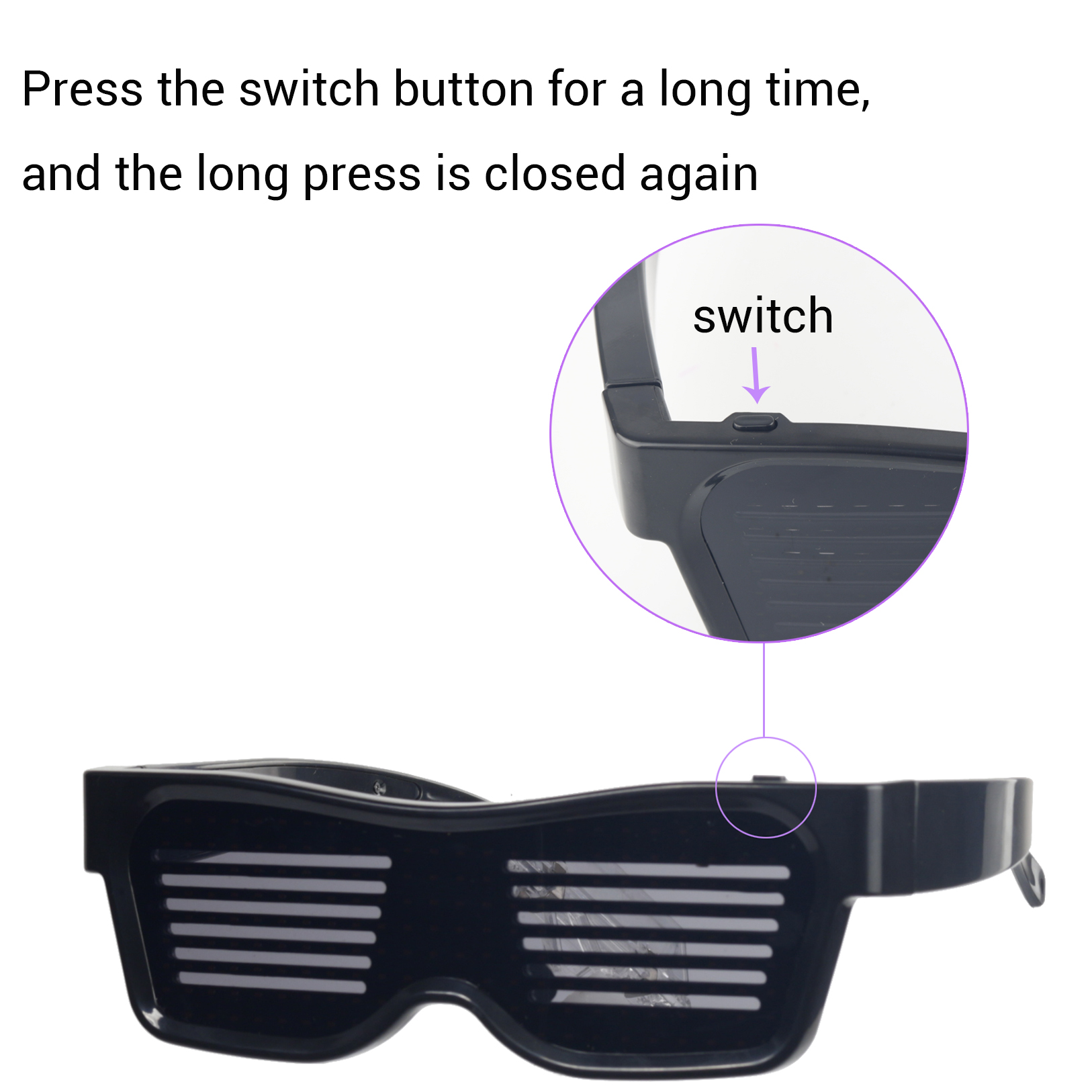 Magic Bluetooth Led Party Glasses APP Control Luminous Glasses EMD DJ Electric Syllables Party Eye Glasses 16