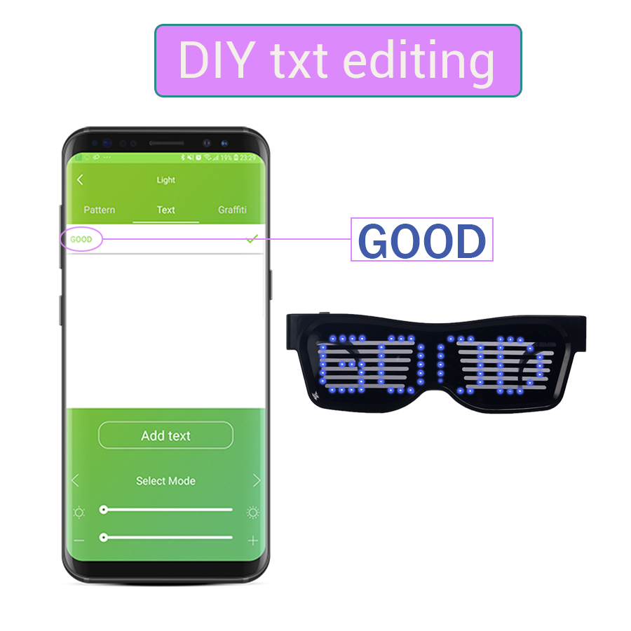 Magic Bluetooth Led Party Glasses APP Control Luminous Glasses EMD DJ Electric Syllables Party Eye Glasses 10