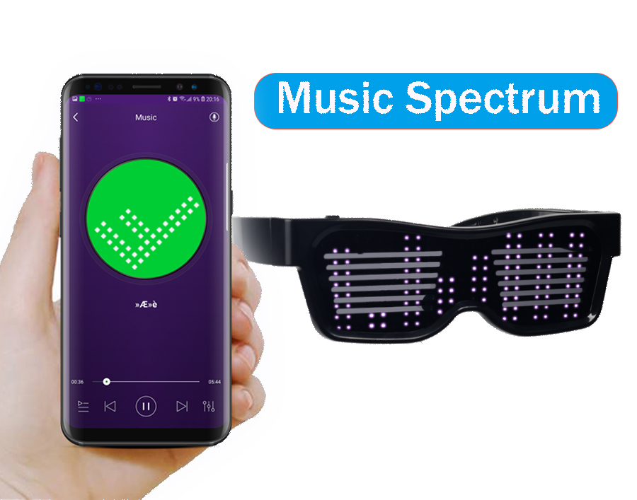 Magic Bluetooth Led Party Glasses APP Control Luminous Glasses EMD DJ Electric Syllables Party Eye Glasses 4