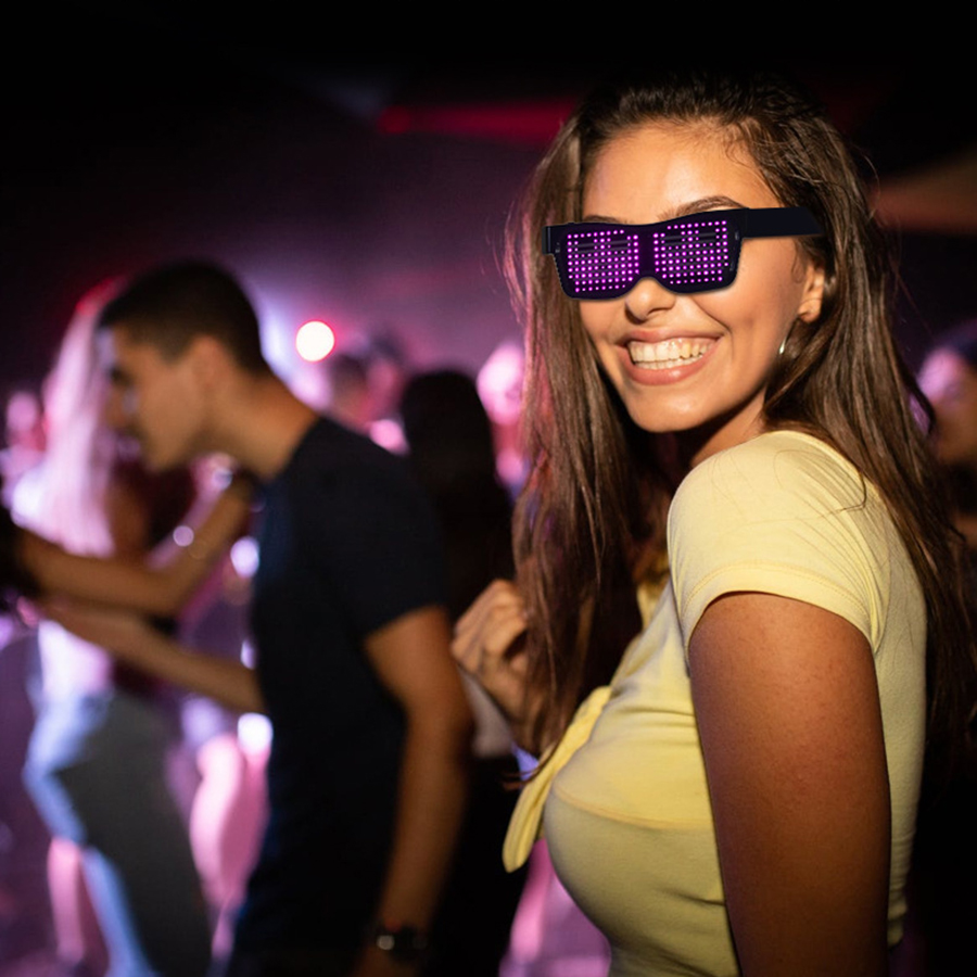 Magic Bluetooth Led Party Glasses APP Control Luminous Glasses EMD DJ Electric Syllables Party Eye Glasses 1