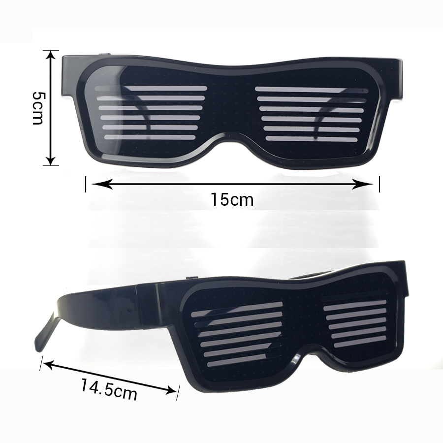 Magic Bluetooth Led Party Glasses APP Control Luminous Glasses EMD DJ Electric Syllables Party Eye Glasses 14
