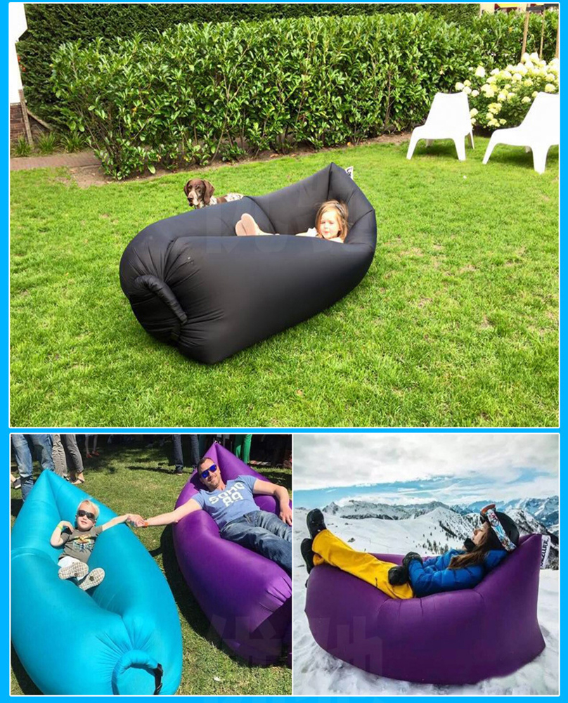 Inflatable Sofa Beach Camping Sleeping Air Sofa Lightweight Portable Folding Lazy Lounger Bed for Travel Picnic Outdoor 200x70cm 8
