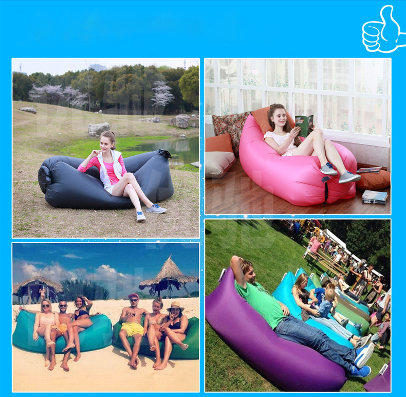 Inflatable Sofa Beach Camping Sleeping Air Sofa Lightweight Portable Folding Lazy Lounger Bed for Travel Picnic Outdoor 200x70cm 7