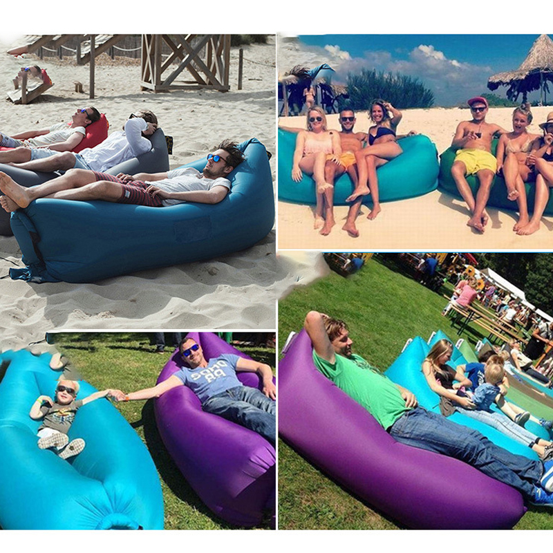 Inflatable Sofa Beach Camping Sleeping Air Sofa Lightweight Portable Folding Lazy Lounger Bed for Travel Picnic Outdoor 200x70cm 5