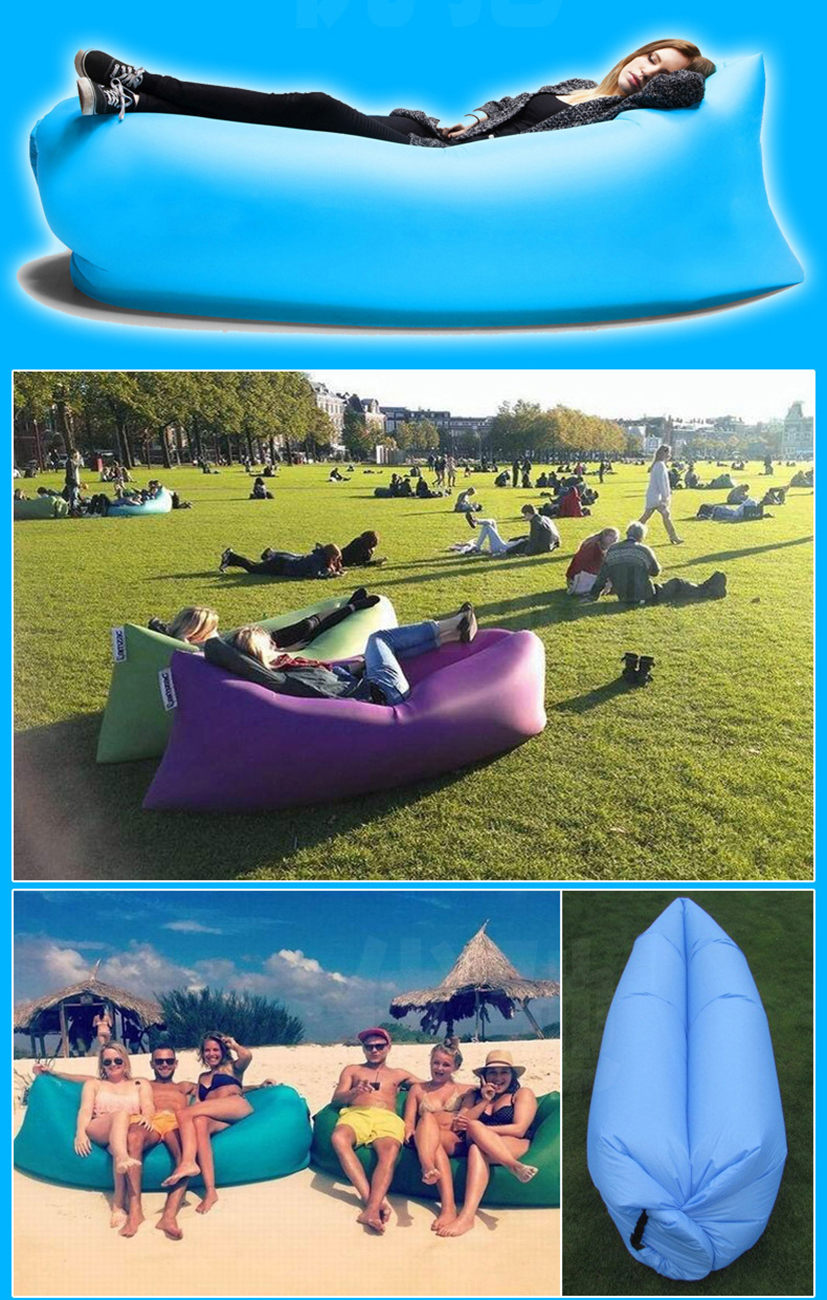 Inflatable Sofa Beach Camping Sleeping Air Sofa Lightweight Portable Folding Lazy Lounger Bed for Travel Picnic Outdoor 200x70cm 6