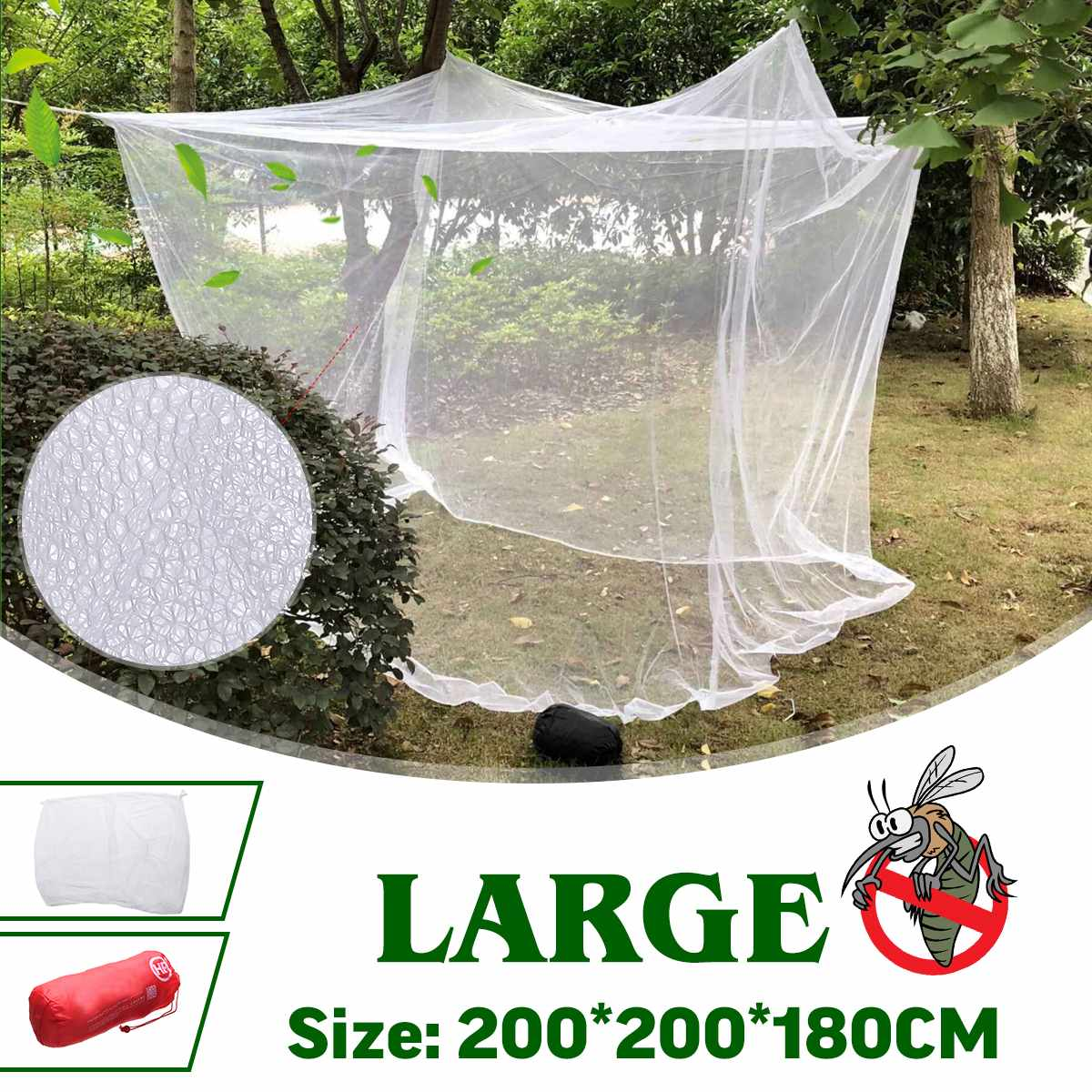200x200x180cm Travel Camping Mosquito Net Repellent Tent Insect Reject 4 Corner Post Canopy Bed Curtain Bed Tent Hanging Bed 1