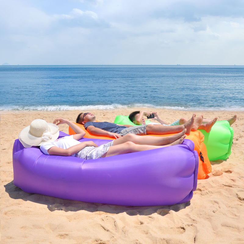 Inflatable Sofa Beach Camping Sleeping Air Sofa Lightweight Portable Folding Lazy Lounger Bed for Travel Picnic Outdoor 200x70cm 4