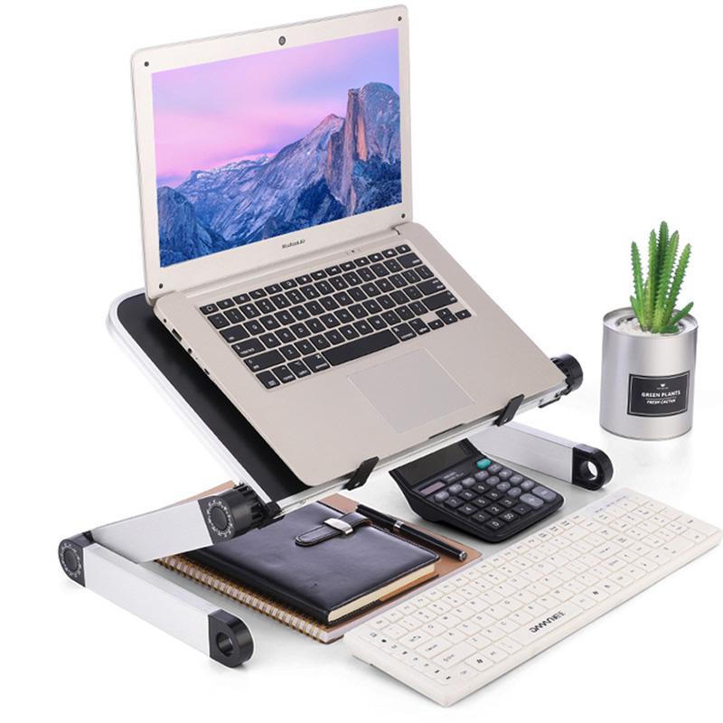 Aluminum Alloy Laptop Portable Foldable Adjustable Laptop Desk Computer Table Stand Tray Notebook Lap PC Folding Desk Table 2