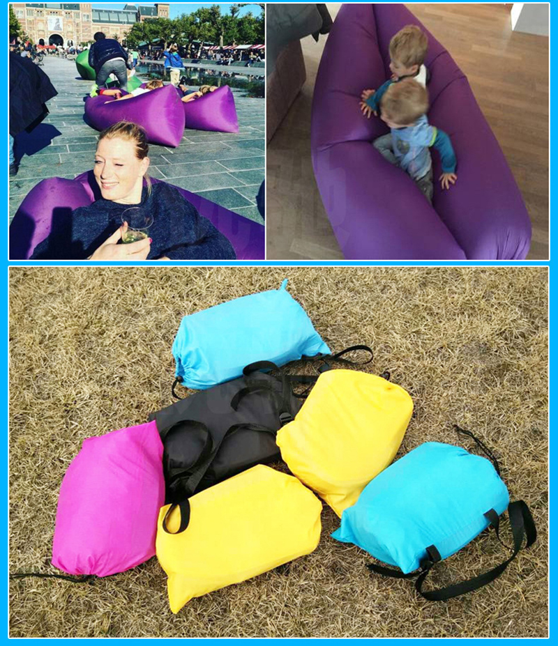 Inflatable Sofa Beach Camping Sleeping Air Sofa Lightweight Portable Folding Lazy Lounger Bed for Travel Picnic Outdoor 200x70cm 2
