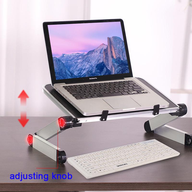 Aluminum Alloy Laptop Portable Foldable Adjustable Laptop Desk Computer Table Stand Tray Notebook Lap PC Folding Desk Table 3