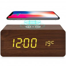 Wood Alarm Clock Sound Control Snooze Table Clock With Qi Wireless Charging 3 Alarm Settings And 3 Levels Brightness Adjustable