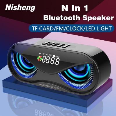 Bluetooth Speaker Cool Owl Design LED Flash Portable Wireless Loudspeaker TF Card FM Radio Alarm Clock TV Bass Smart Display M6