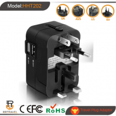 Universal Travel Adapter Auto Resetting Fuse 10A 2 USB Worldwide International Plug Socket/Adaptor Wall Charger for UK/EU/AU/US
