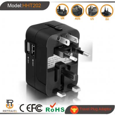 Universal Travel Adapter Auto Resetting Fuse 10A 2 USB Worldwide International Plug Socket/Adaptor Wall Charger for UK/EU/AU/US