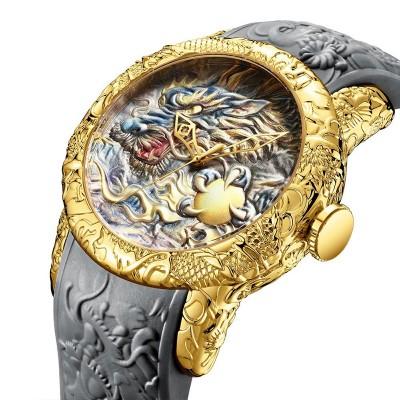 Luxury Fashion Dragon Design Quartz Watch BIDEN Men Silicone Strap Waterproof Wristwatch Sport Male Clock Relogio Masculino