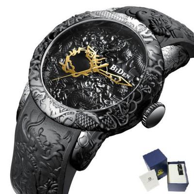 Brand Mens Watches BIDEN Fashion 3D Engraved Dragon Quartz Watch Waterproof Sport Male Clock Relogio Masculino