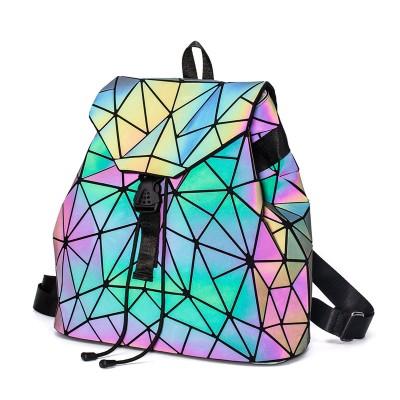 Fashion Luminous Backpack Women Geometric Backpacks For Teenage Girls Female Laser Diamond Student's School Bag Mochila Bolsas