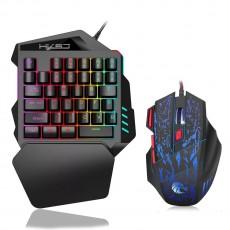 New Ergonomic Multicolor Backlight One-Handed Game Keyboard Mouse Set 35 Keys 5500DPI Gamer Gaming Mouse Keyboard Combos