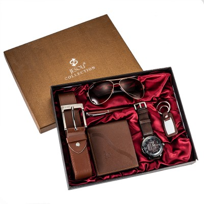 Watches for men rolex_watch mens gifts 6pcs/set boutique gift set glasses + belt + wallet + key chain + watch + pen Alloy