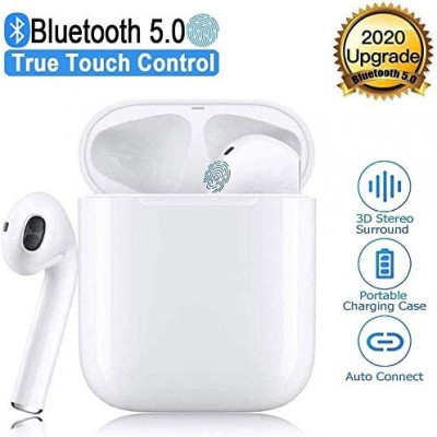 TWS i19 Earbuds Bluetooth 5.0 Earphones with HD Stereo Sound Touch-Control Pop-Up Connection Auto Pairing for Gaming Working Sports Exercise Travel Headsets Music with IPX7 Waterproof Earphones