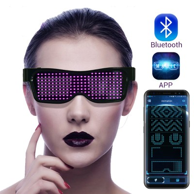 Magic Bluetooth Led Party Glasses APP Control Luminous Glasses EMD DJ Electric Syllables Party Eye Glasses
