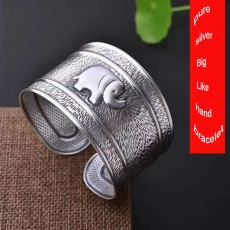 Vintage elephant bracelet in sterling silver