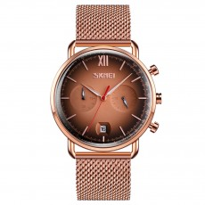 Curved mirror men's quartz watch stopwatch calendar fashion casual steel band Watch
