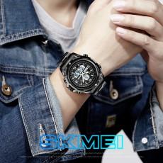 Southeast Asia hot selling men's watch multi functional fashion sports steel strip luminous double display watch
