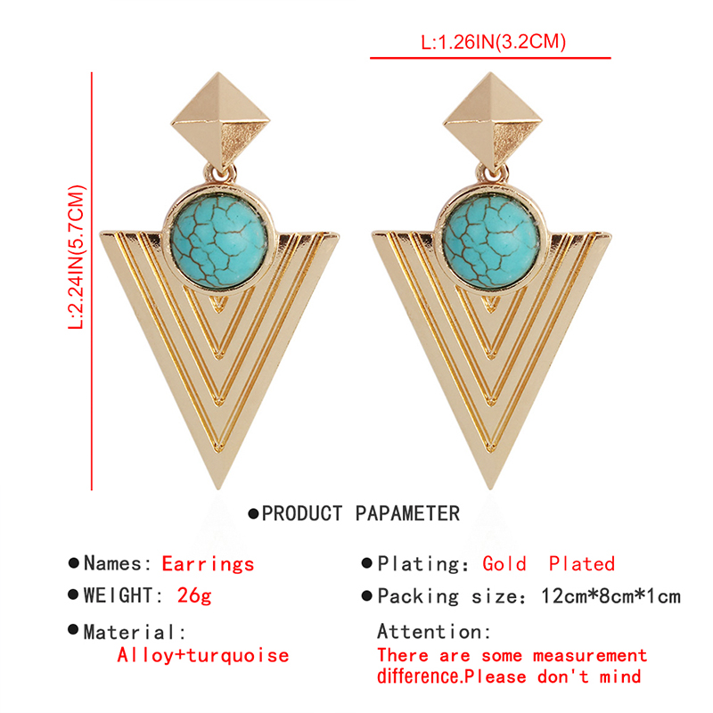 Pyramid circle minority Bohemian wind ear jewelry Indian jewelry female retro Big Circle Earrings E4694 0