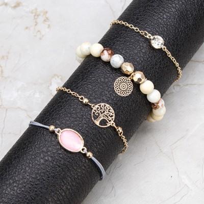 Bohemia Fashion micro vogue inlaid Zircon Bracelet exquisite round center pull-out Bracelet women's adjustable Bracelet sale
