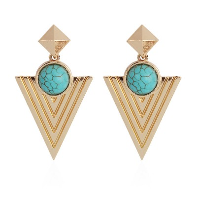 Pyramid circle minority Bohemian wind ear jewelry Indian jewelry female retro Big Circle Earrings E4694