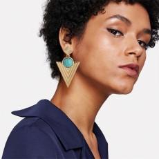 Pyramid circle minority Bohemian wind ear jewelry Indian jewelry female retro Big Circle Earrings E4694