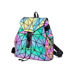 Laser luminous backpack rhombic geometric backpack male and female students personality schoolbag foldable outdoor backpack