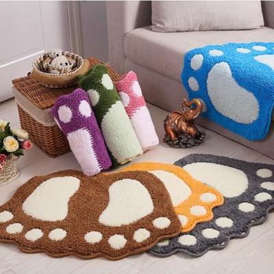 Polyester small feet anti-skid door mat, small feet mat, toilet and bathroom anti-slip mat, cartoon flocking feet soft and comfortable