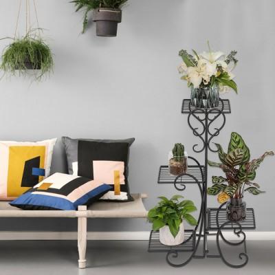 4 Potted Square Flower Metal Shelves Plant Pot Stand Decoration for Indoor Outdoor Garden Black