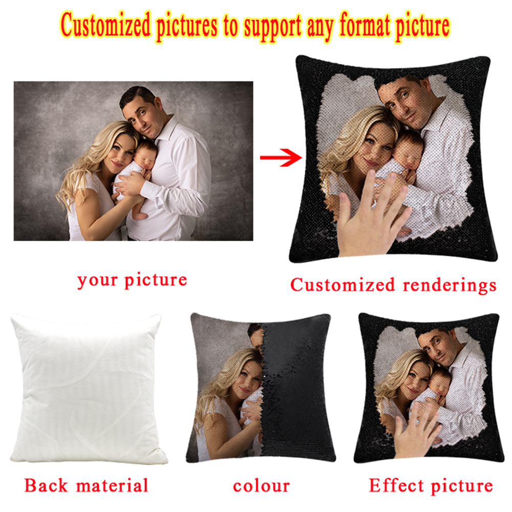 Sequin Magic Pillow Creative Flash Home Gift Support customized pictures, 16 inches, without pillow core 0