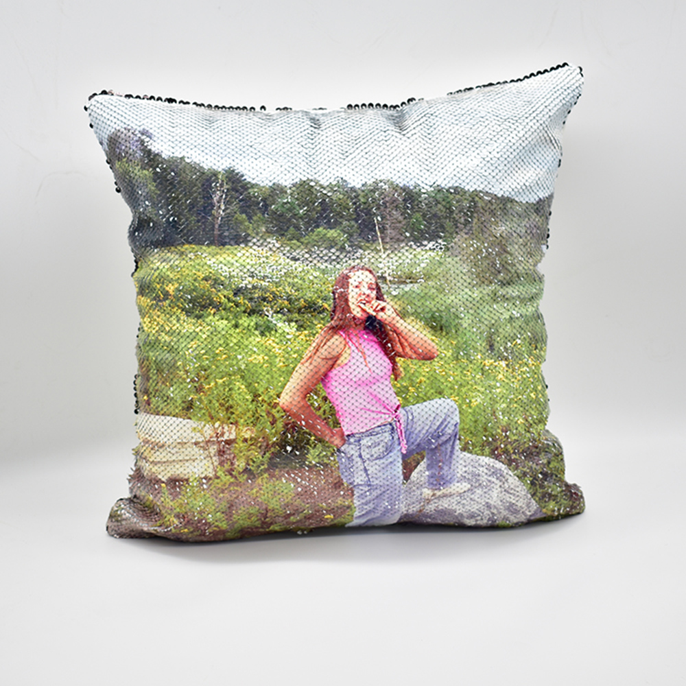 Sequin Magic Pillow Creative Flash Home Gift Support customized pictures, 16 inches, without pillow core 3