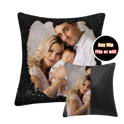 Sequin Magic Pillow Creative Flash Home Gift Support customized pictures, 16 inches, without pillow core