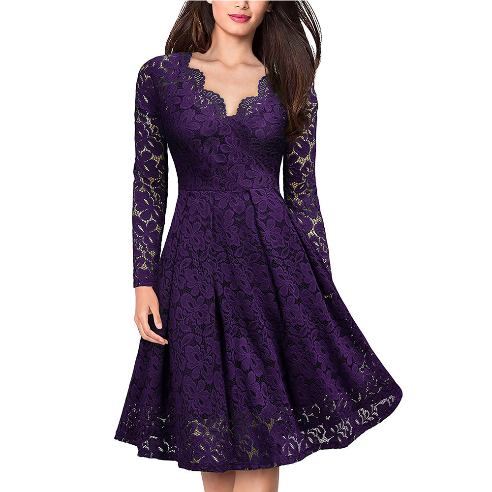 Women's Vintage Floral Lace Long sleeves Boat Neck Cocktail Formal Swing Dress 7