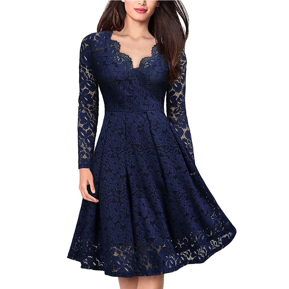 Women's Vintage Floral Lace Long sleeves Boat Neck Cocktail Formal Swing Dress 1