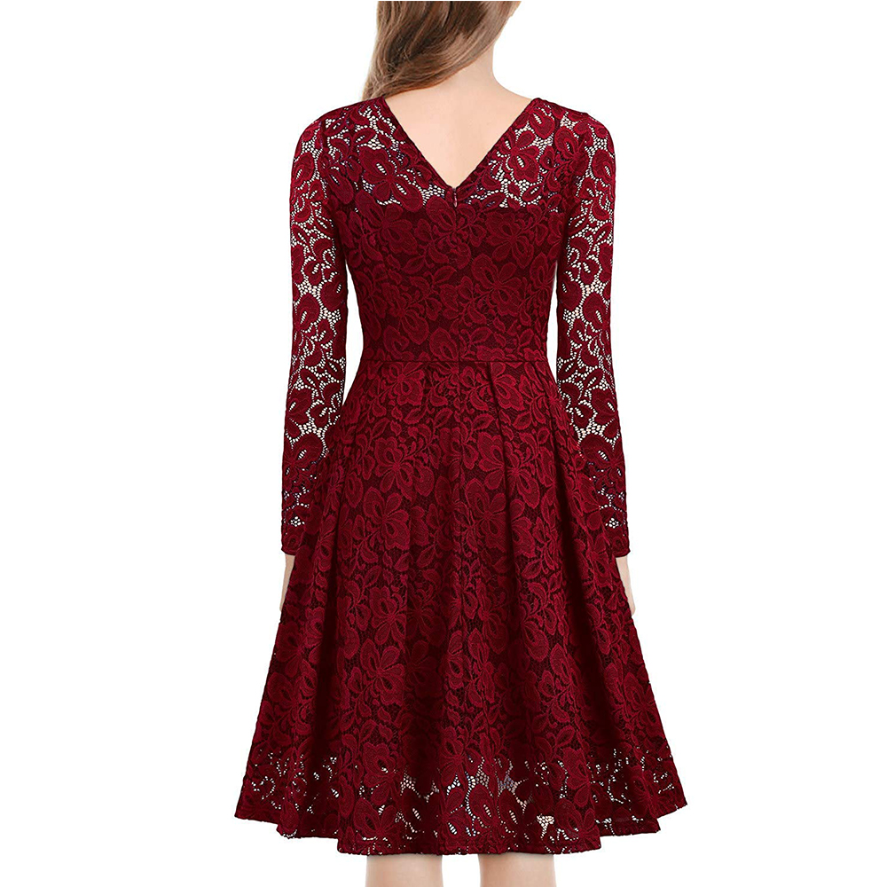 Women's Vintage Floral Lace Long sleeves Boat Neck Cocktail Formal Swing Dress 6
