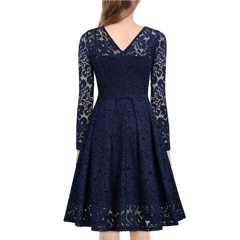 Women's Vintage Floral Lace Long sleeves Boat Neck Cocktail Formal Swing Dress 2