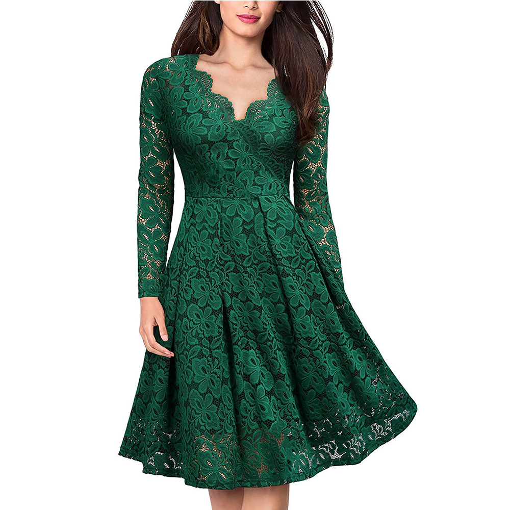 Women's Vintage Floral Lace Long sleeves Boat Neck Cocktail Formal Swing Dress 3