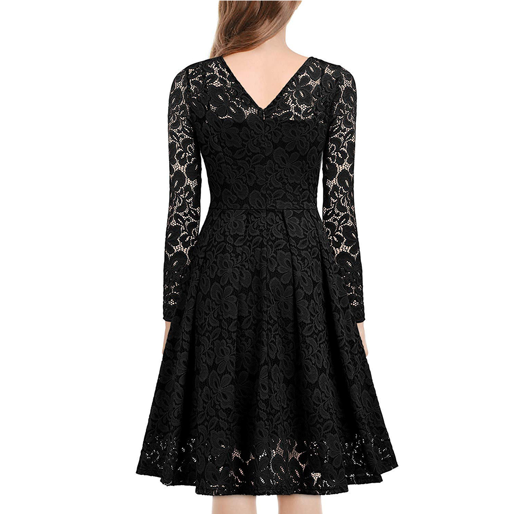 Women's Vintage Floral Lace Long sleeves Boat Neck Cocktail Formal Swing Dress 10