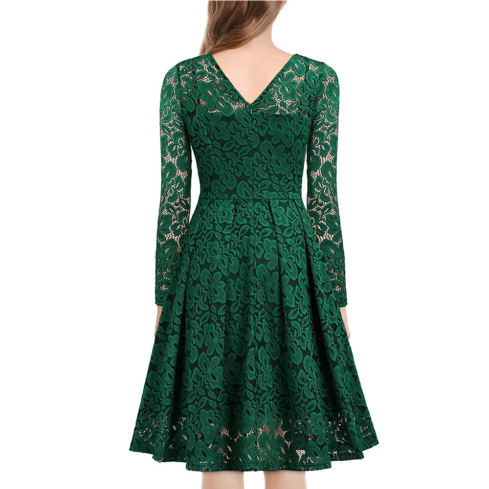 Women's Vintage Floral Lace Long sleeves Boat Neck Cocktail Formal Swing Dress 4