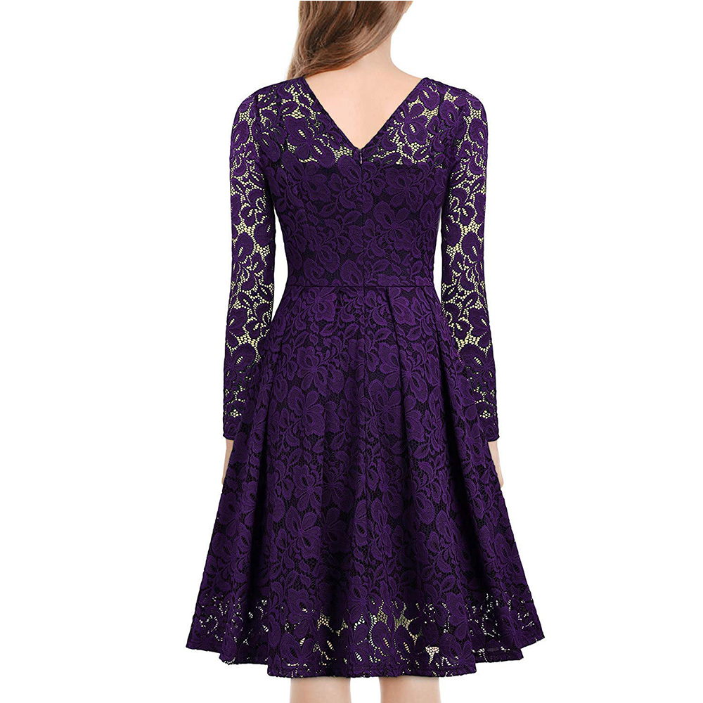 Women's Vintage Floral Lace Long sleeves Boat Neck Cocktail Formal Swing Dress 8